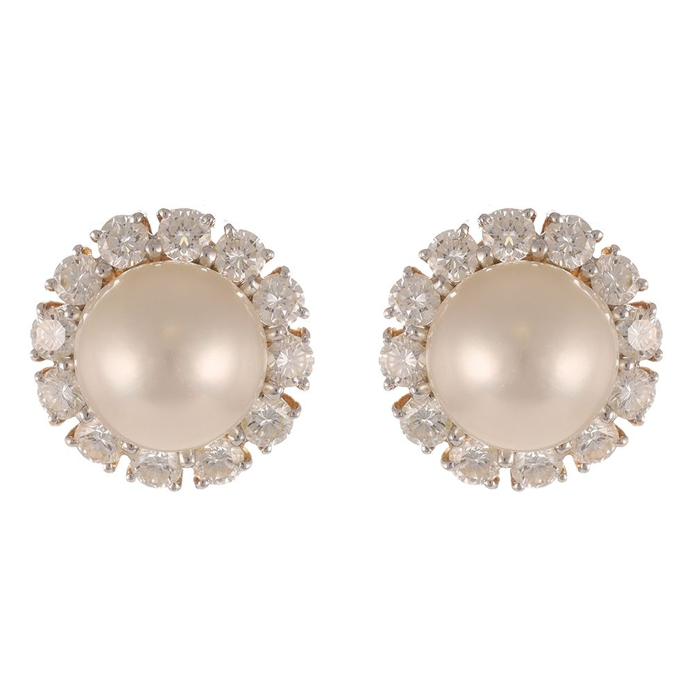 Pre-Owned 18ct Yellow Gold Diamond Cluster Earrings - 8g  Pearl Gold