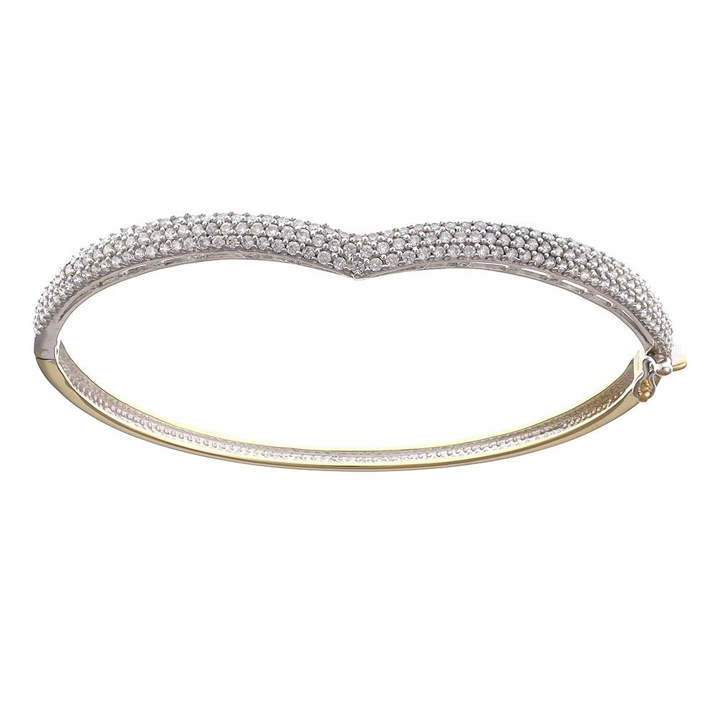 Pre-owned 18ct Yellow & White Gold CZ Wishbone Bangle - 11g Cubic Zirconia Gold