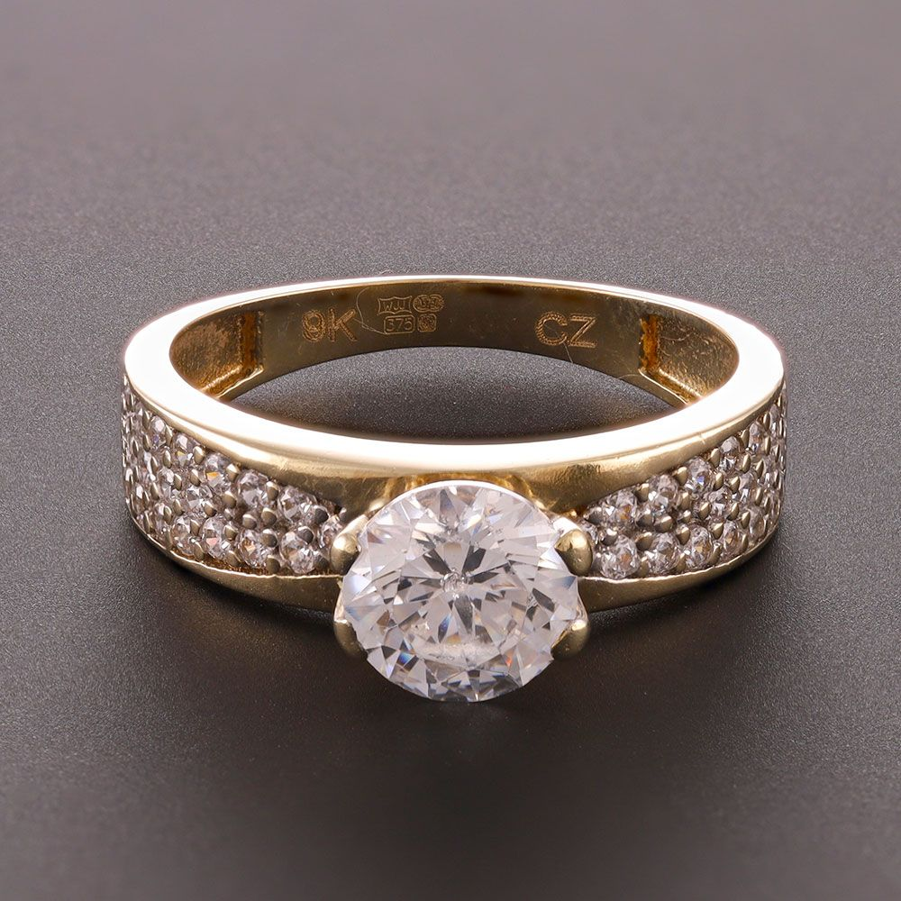 Pre-Owned 9ct Yellow Gold CZ Solitaire Shoulder Set Ring Cubic Zirconia Gold