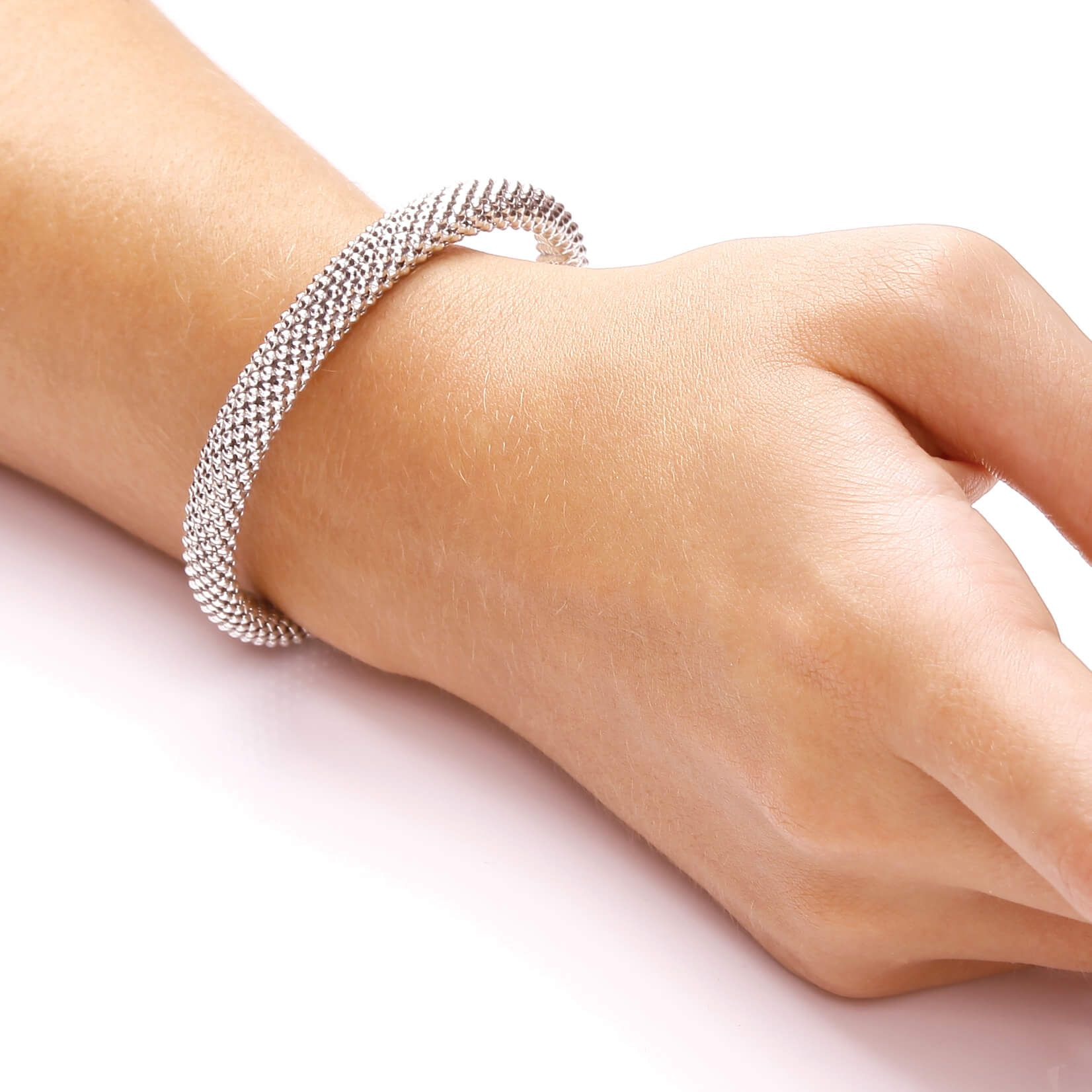 Rose Gold Coated Sterling Silver Bangle Set With White CZs Cubic Zirconia Silver