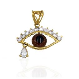 Pre-owned Fancy Cz And 18ct Gold Pendant