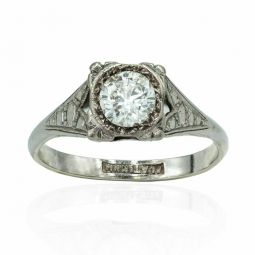 Pre-owned 0.55cts Diamond And Platinum Ring