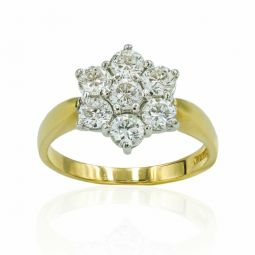 Pre-owned 18ct Yellow Gold 1.40ct Diamond Cluster Ring- 5g
