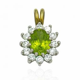 Pre-owned 9ct Gold Cluster Peridot Gemstone Pendant