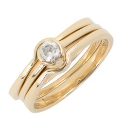 Pre-owned 18ct Gold Solitaire Bridal Set CZ Ring - 6g