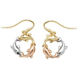 9ct Tricolour Gold Dolphin Fish Hook Drop Earrings