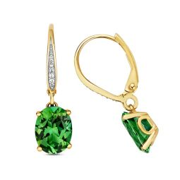 9ct Yellow Gold Oval Passion Rainforest Topaz Drop Earrings