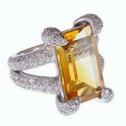 Pre-owned 18ct White Gold Citrine and Diamond Cocktail Ring - 13g