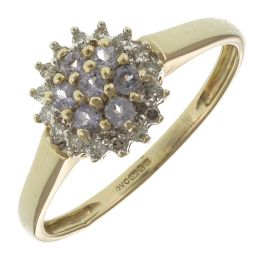Pre-Owned 9ct Yellow Gold Amethyst Diamond Cluster Ring  - 2.4g