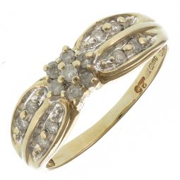Pre-Owned 9ct Yellow Gold 0.15ct Diamond Cluster Ring  - 2.53g
