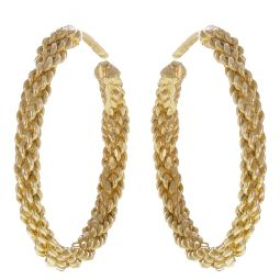 Pre-Owned 9ct Yellow Gold Rope Earring  - 7.26g