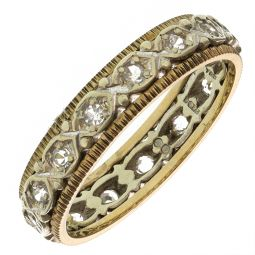 Pre-Owned 9ct Yellow & White Gold Eternity Ring  - 4.08g