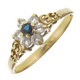 Pre-Owned 9ct Yellow Gold Sapphire Cluster Ring  - 1.11g