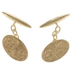 Pre-Owned 9ct Yellow Gold Patterned Cufflinks  - 4g