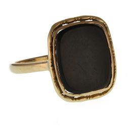 Pre-Owned 9ct Yellow Gold Black Onyx Signet Ring  - 2.85g
