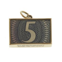 Pre-Owned 9ct Yellow Gold 10 Pound Paper Note Charm - 2.3g