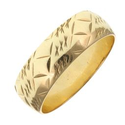 Pre-Owned 9ct Yellow Gold Patterned Ring  - 3.57g
