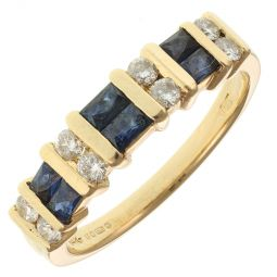 Pre-Owned 14ct Yellow Gold Sapphires And Diamonds Cocktail Ring  - 3.69g
