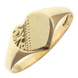 Pre-Owned 9ct Yellow Gold Signet Heart Shape Ring  - 1.22g
