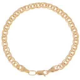 Pre-Owned 14ct Rose Gold Double Curb Bracelet  - 3.43g