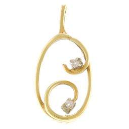 Pre-Owned 18ct Yellow Gold Gemstone Abstract Pendant  - 2g