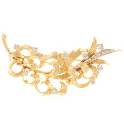 Pre-Owned 18ct Yellow Gold Diamond Set Brooch - 10.7g