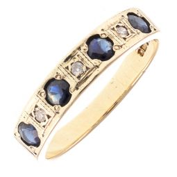 Pre-Owned 9ct Yellow Gold Diamond & Sapphire Ring - 2.1g