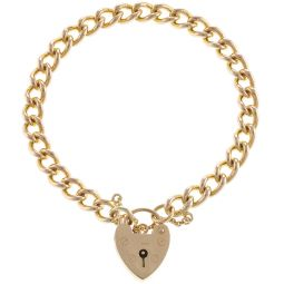 9ct Yellow Gold Solid Curb Padlock Bracelet - 6mm - 18.8g
