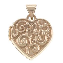 9ct Yellow Gold Floral Patterned Locket - 15.5mm - 1.06g