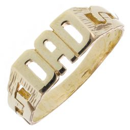 9ct Yellow Gold Classic Dad Ring - 2.9g