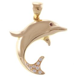 Pre-Owned 14ct Yellow Gold Gem-Set Dolphin Pendant - 10.2g