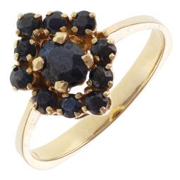 Pre-Owned 14ct Yellow Gold Sapphire Cluster Ring - 3.8g  - Size O