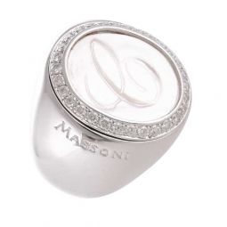 Pre-owned Massoni 18ct White Gold Initial C Ring - 18g