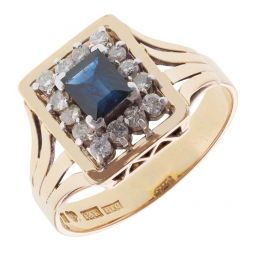 Pre-owned 18ct Yellow & White Gold Sapphire and Diamond Cluster Ring - 7g