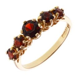 Pre-owned 9ct Yellow Gold Five Stone Garnet Ring