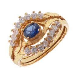 Pre-owned 22ct Yellow Gold Cluster Sapphire Ring - 6g