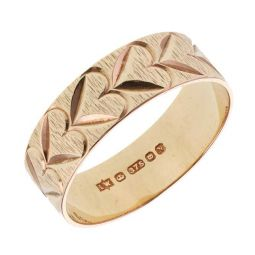 Pre-owned 9ct Yellow Gold Patterned Band Ring