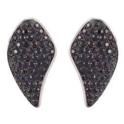 Pre-owned 18ct White Gold Wing Sapphire Earrings - 18g