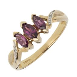 Pre-owned 9ct Gold  Three stone Ring - Size N