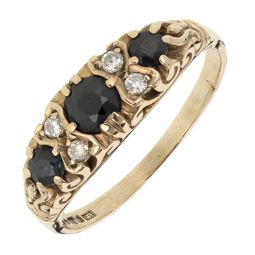 Pre-owned 9ct Gold and Sapphire Three stone Ring - Size P
