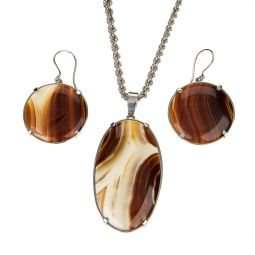 Pre-owned Natural Agate Gemstone Silver Set