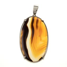 Pre-owned Brown Agate Gemstone Silver Pendant