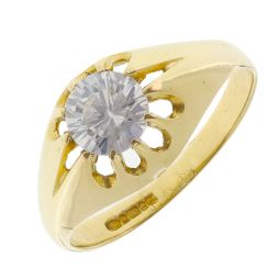 Pre-owned 9ct Yellow Gold CZ Pinky Ring - Size O