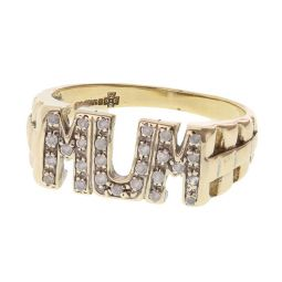 """Pre-owned 9ct Yellow Gold """"MUM"""" CZ Ring - Size N"""