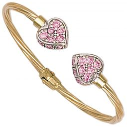 9ct Yellow Gold Hinged Pink Cz Heart Baby Torque Bangle