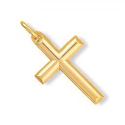 9ct Yellow Gold Hollow Tubed Cross