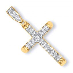9ct Yellow Gold Round Tubed CZ Cross
