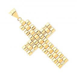 Yellow Gold Rolex-Style Link Large Cross