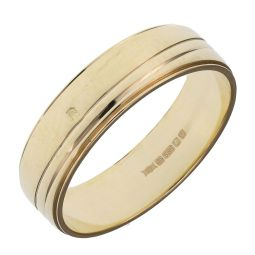 Pre-owned 14ct Yellow Gold Reeded Band Ring - Size K