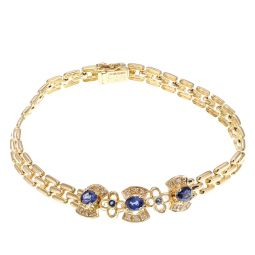 Pre-owned 18ct Yellow Gold Sapphire Mesh Bracelet - 7.3 Inches - 11g